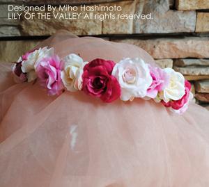 造花 ピンクローズの花冠