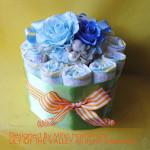 オムツケーキ ブルー&シトラスカラーのリボンケーキ