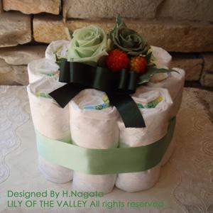 おむつケーキ 誕生石カラー5月 エメラルド