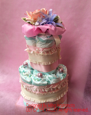 フリルリボンのおむつケーキ