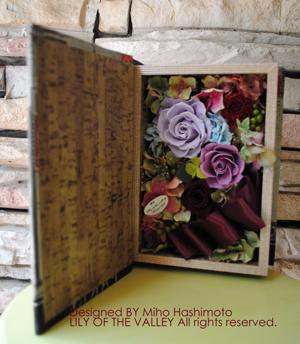 プリザーブドフラワー ブック型ボックスフラワーLサイズ