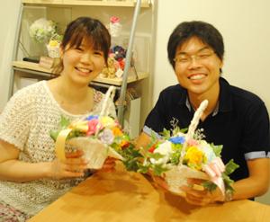結婚式 ご両親贈呈用フラワーアレンジ 小西様ご夫妻の作品