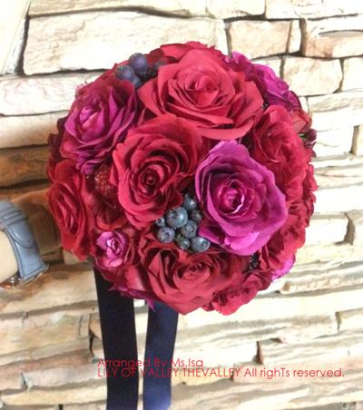 造花 赤バラ ラウンドブーケ