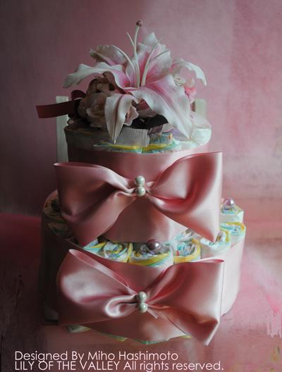 シルクフラワーオムツケーキ LILY