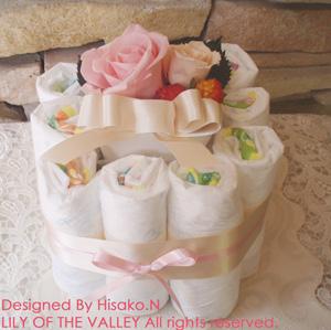 おむつケーキ 誕生石カラー10月 オパール
