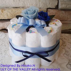 おむつケーキ 誕生石カラー12月