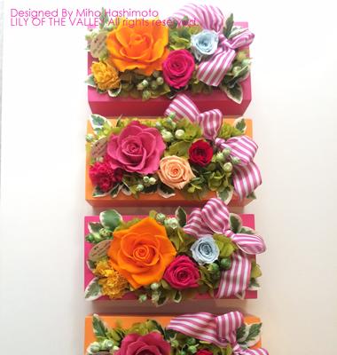 海外ウェディング ボックスフラワー「キャンディカラーアレンジメント」
