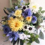 海外ウェディング 造花ブーケ「アンティークブルーのクラッチブーケ」